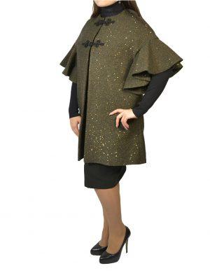 Пальто Clips  болотного цвета твидовое с золотыми пайетками