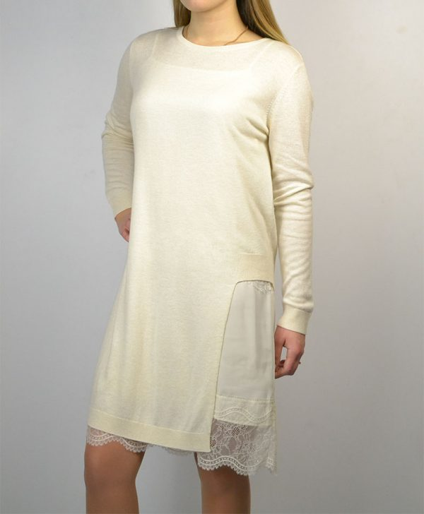 Платье цвет кремовый комбинация низ кружево