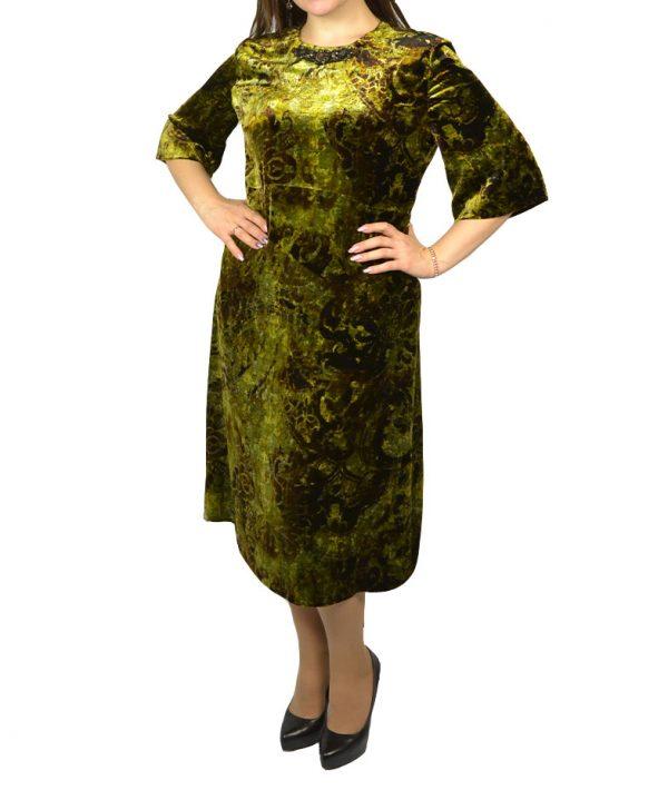 Платье Clips темно-зеленое бархатное линия выреза  камни