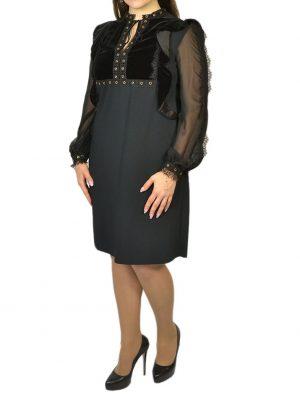 Платье Clips черное верх бархат вышивка  рукава шелковые гипюр