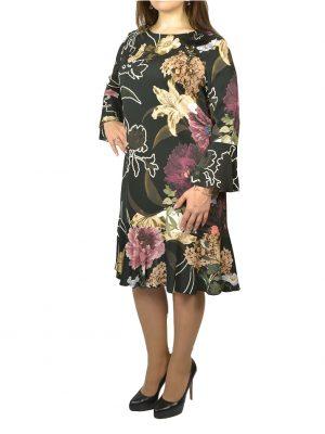 Платье Clips черное с принтом цветы слева брошь цветок