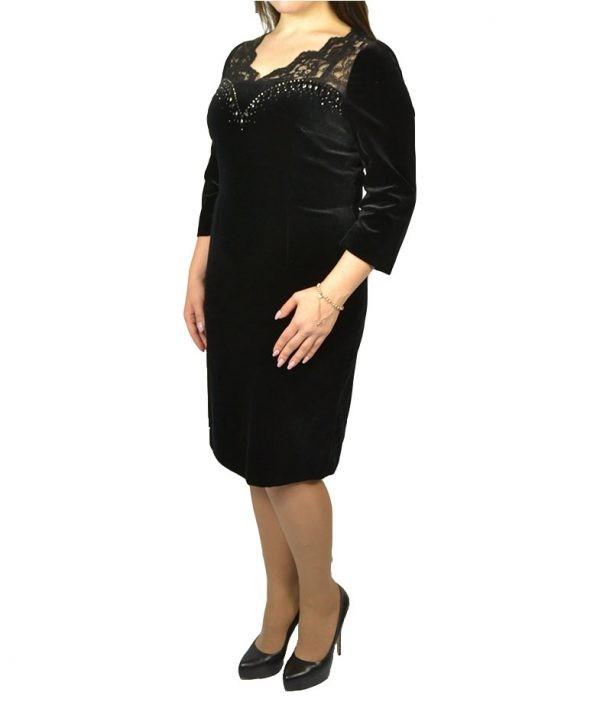 Платье Elisa Fanti черное бархатное верх гипюр камни