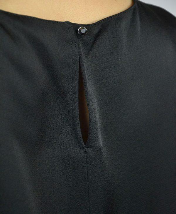 Платье VDP черное атласное линия из камней
