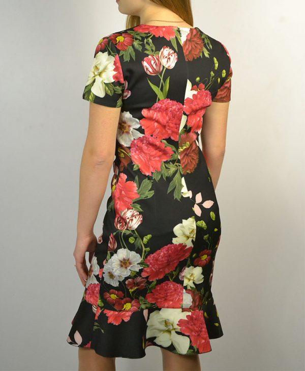 Платье VDP черное красные белые тюльпаны пионы