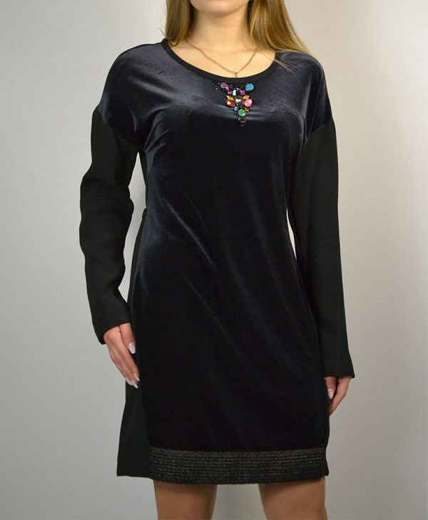 Платье VDP черное перед велюр линия выреза крупные камни низ плетение