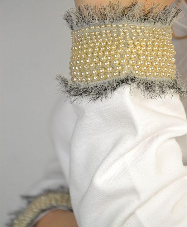 Туника Twin-Set белая низ кружево на рукавах бусины