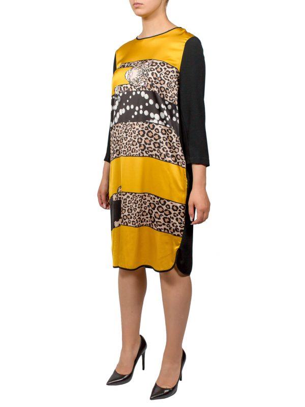 Платье VDP черно-желтое с леопардовым принтом