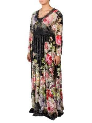 Платье Clips черное с бархатными  цветами черным гипюром