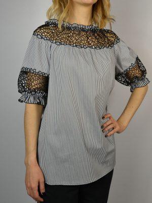 Блуза Maria Grazia Severi белая в черную полосу рукава фонарик шитье