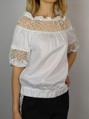 Блуза Maria Grazia Severi белая рукава фонарик шитье