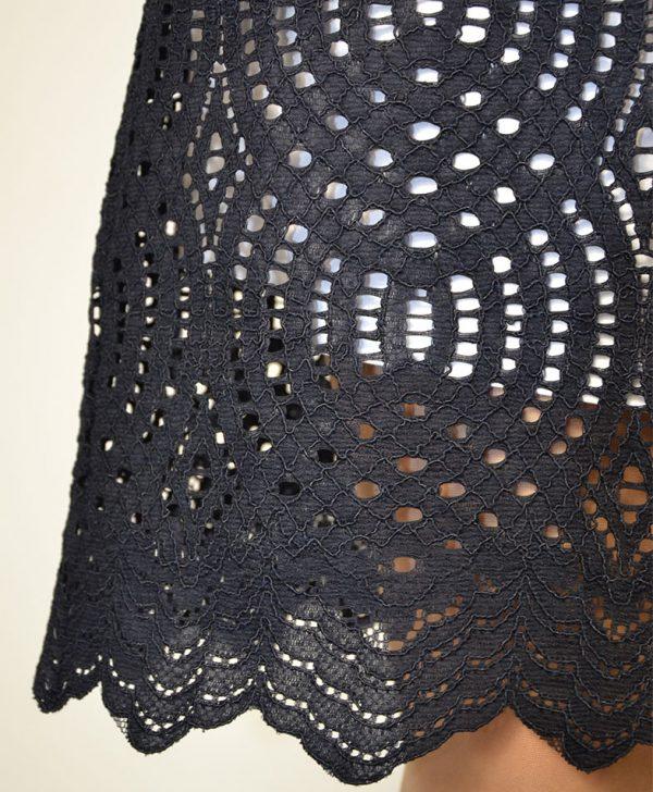 Платье D. Exterior синее шитье ворот люрекс с белой подкладкой