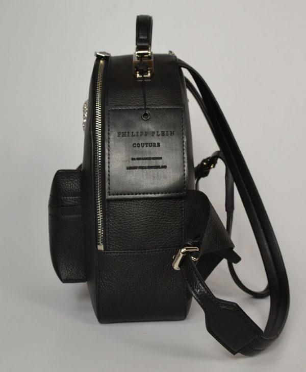 Рюкзак Philipp Plein  черный кожаный с черепом и цепочкой