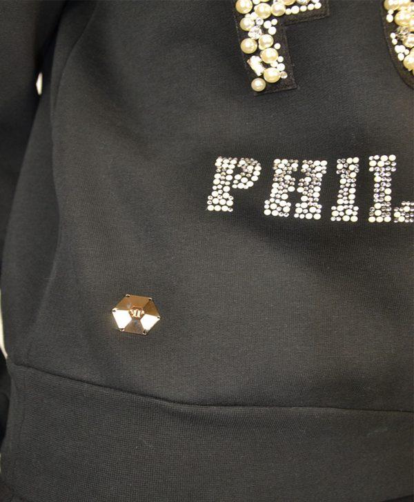 Толстовка Philipp Plein черная с надписью из жемчуга и камней