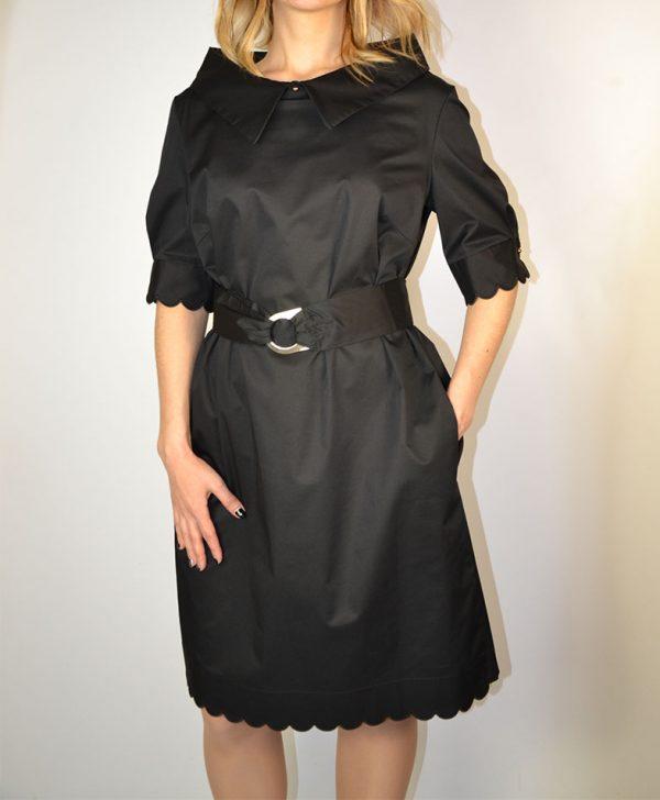 Платье Maria Grazia Severi черное хлопковое короткий рукав воротник