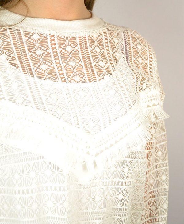 Кофта Dixie белого цвета вязаная с бахромой