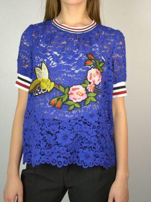 Кофта Tenax синего цвета шитье принт розы пчела