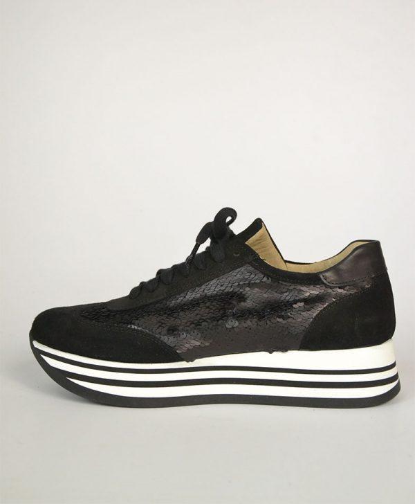 Кроссовки Nila&Nila черные с паетками на шнурках