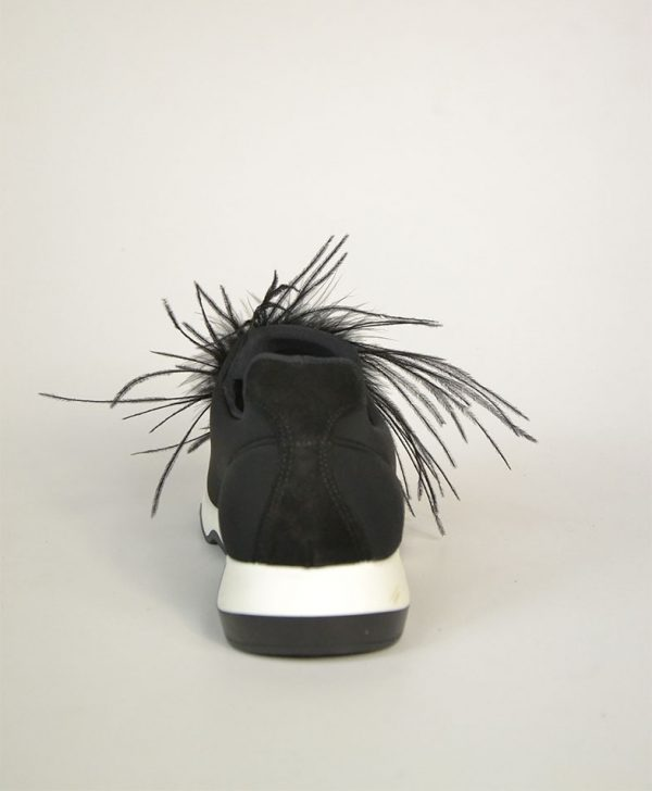 Кроссовки Nila&Nila черные с перьями