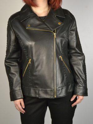 Куртка Clips черная кожаная с косым замком плетение