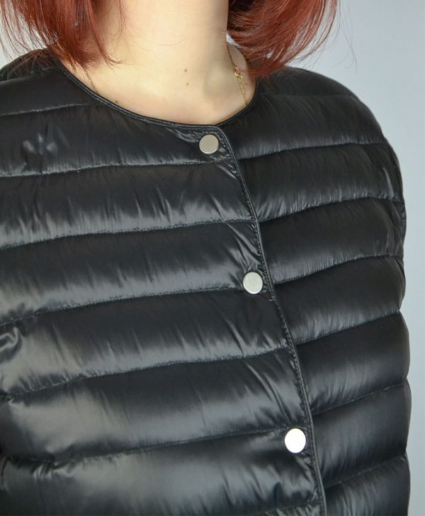 Куртка Peserico двухсторонняя черная и черная в белую крапинку на клепках с карманами
