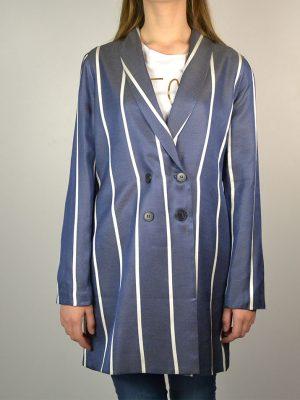 Пиджак Paolo Casalini синего цвета в вертикальную белую полоску