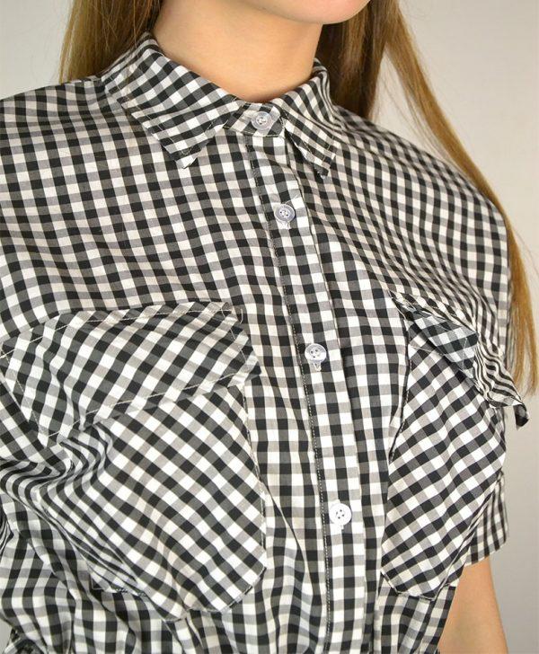 Платье-халат Dixie белое в черную клетку пояс