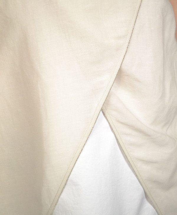 Платье Peserico бежевого цвета на белой подкладке и с воротником