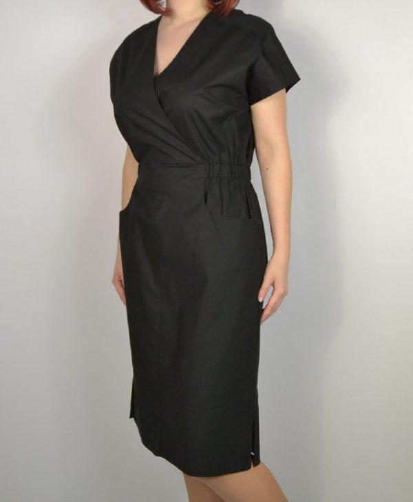 Платье Peserico черное хлопковое с карманами пояс резинка
