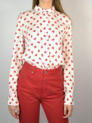 Рубашка Dixie белая в красное сердце