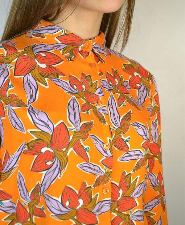 Рубашка Dixie коричневого цвета оранжевые цветы низ резинка