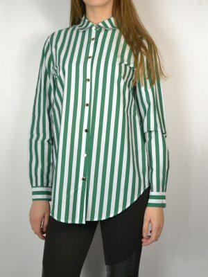 Рубашка Paolo Casalini белая в вертикальную зеленую полоску на металлических пуговицах