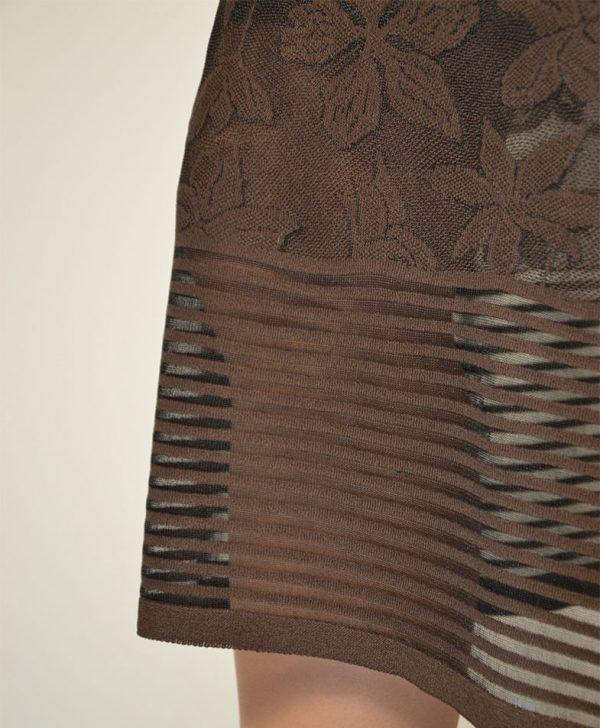Юбка D.Exterior коричневая цветы низ полосы