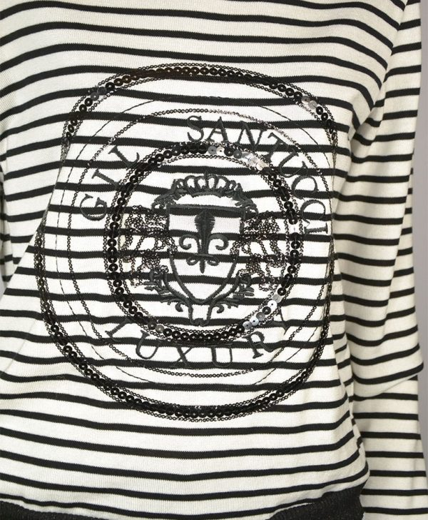 Кофта Gil Santucci белая в черную полосу принт пайетки рукав резинка