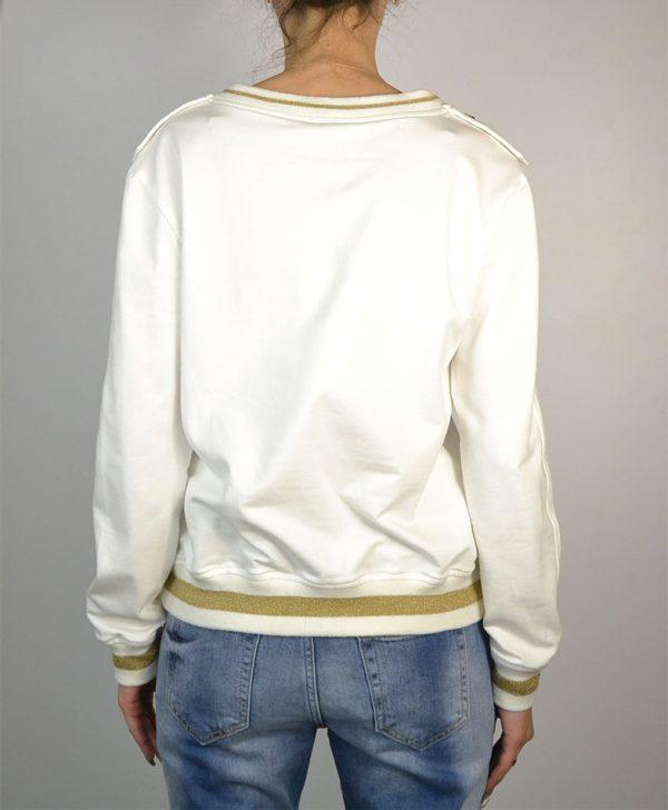 Кофта Gil Santucci белая золотой принт пайетки погоны