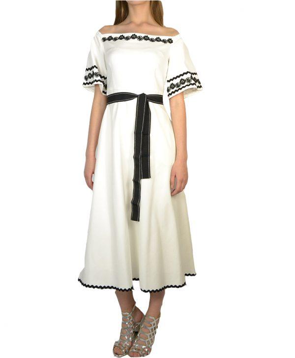Платье Beatrice белое  черная каемка