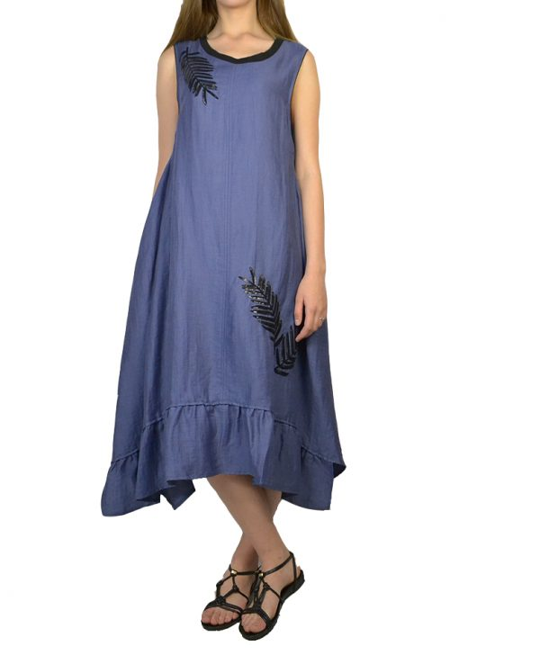 Платье Beatrice светло-синего цвета черная вышивка из пайеток в виде листочков