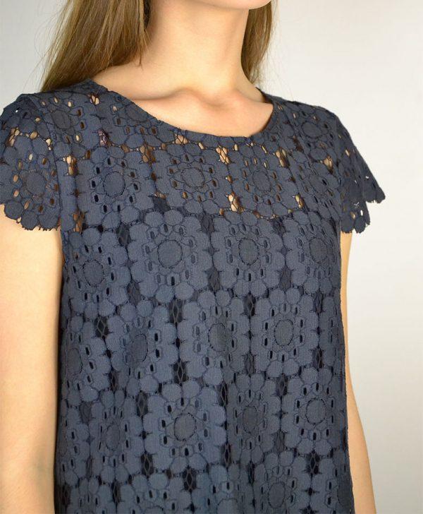 Платье Beatrice синего цвета шитье на спине молния