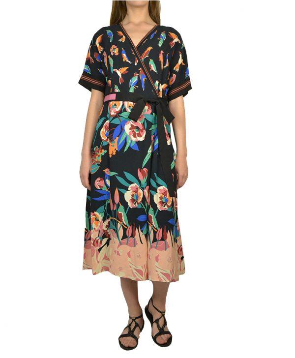 Платье Beatrice черное разноцветные цветы и попугаи