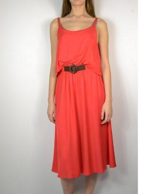 Сарафан Dixie красного цвета впереди коричневый ремень