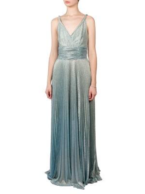 Платье Beatrice серебряного цвета с голубым отливом в пол юбка плиссе