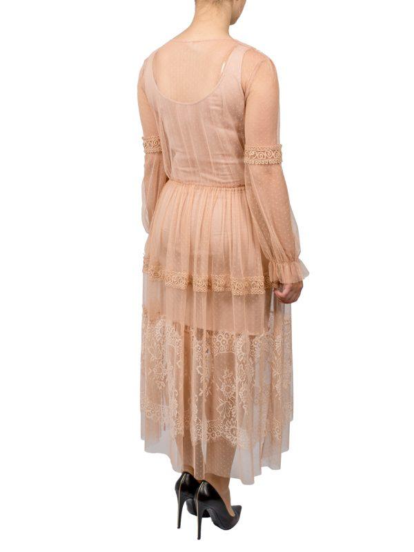 Платье Imperial пудровое с сеткой