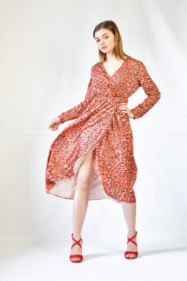 Платье леопард Rinachimento оранжевое