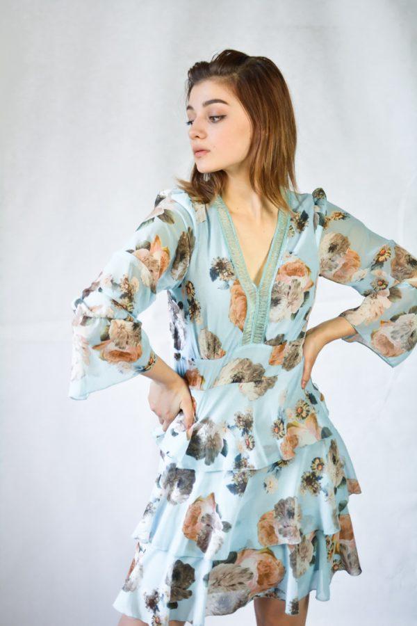 Платье Rinachimento голубое с цветами