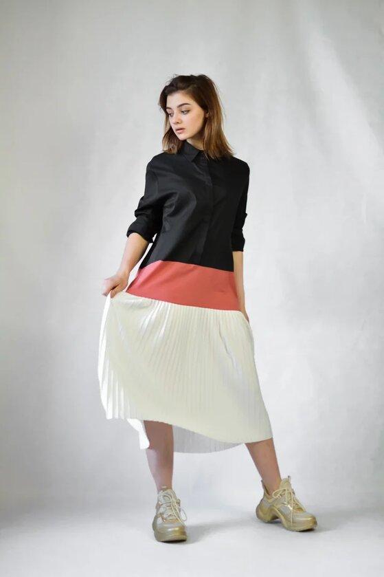 Платье Rosa Shock черное с белым низом