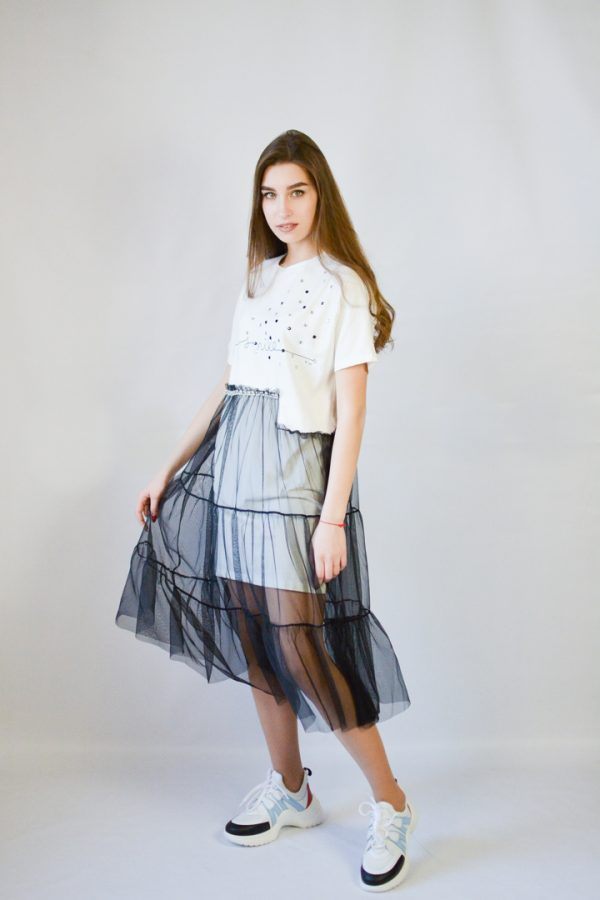Платье Rosa Shock белое с сеткой