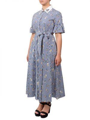 Платье Sfizio с птицами в полоску
