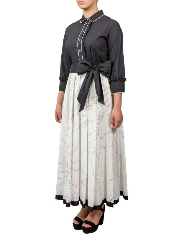 Платье Beatrice черно-белое