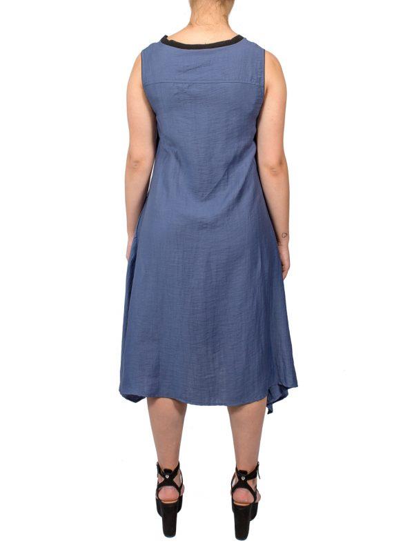 Платье Beatrice синее с листьями