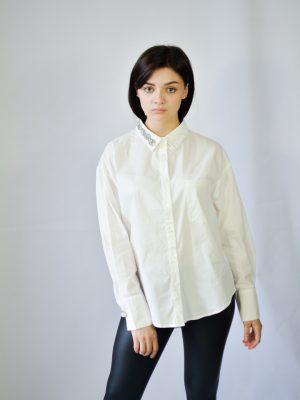 Рубашка Rosa Shock белая с камнями