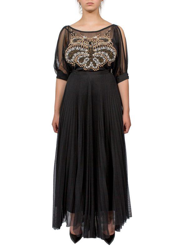 Платье Beatrice черное с вышивкой